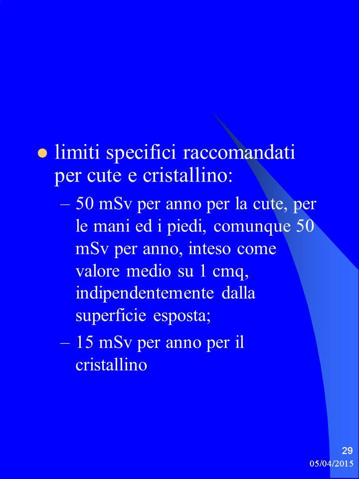 limiti specifici raccomandati per cute e cristallino: –50 mSv per anno per la cute, per le mani ed i piedi, comunque 50 mSv per anno, inteso come valo
