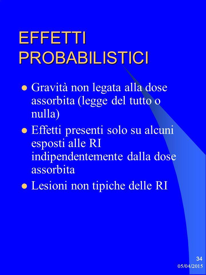 05/04/2015 34 EFFETTI PROBABILISTICI Gravità non legata alla dose assorbita (legge del tutto o nulla) Effetti presenti solo su alcuni esposti alle RI