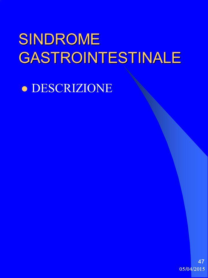 05/04/2015 47 SINDROME GASTROINTESTINALE DESCRIZIONE