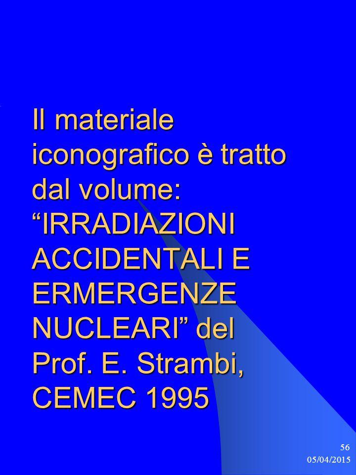 """05/04/2015 56 Il materiale iconografico è tratto dal volume: """"IRRADIAZIONI ACCIDENTALI E ERMERGENZE NUCLEARI"""" del Prof. E. Strambi, CEMEC 1995"""