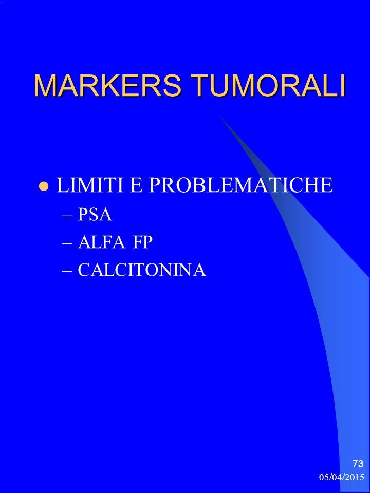 MARKERS TUMORALI LIMITI E PROBLEMATICHE –PSA –ALFA FP –CALCITONINA 05/04/2015 73