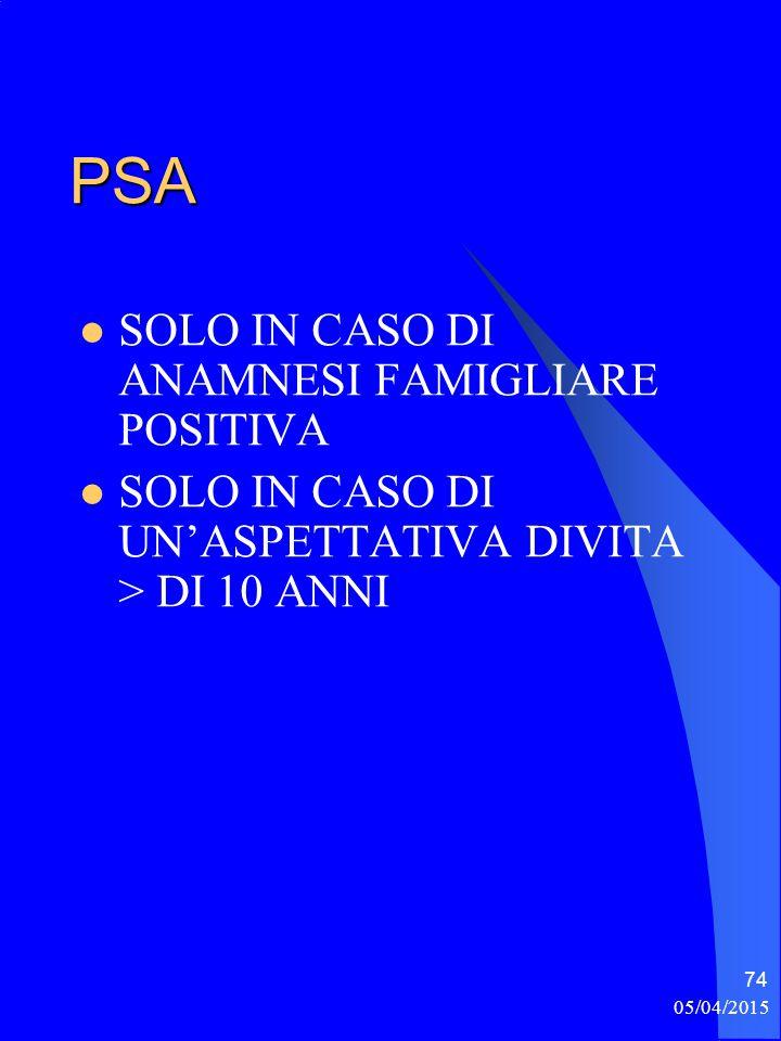 PSA SOLO IN CASO DI ANAMNESI FAMIGLIARE POSITIVA SOLO IN CASO DI UN'ASPETTATIVA DIVITA > DI 10 ANNI 05/04/2015 74