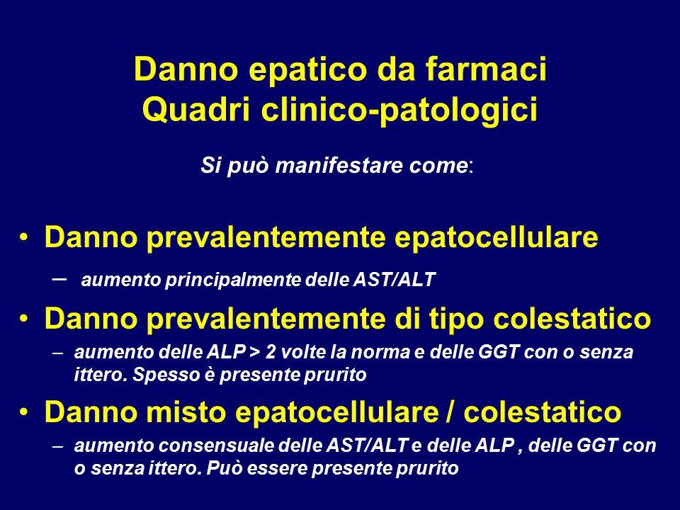 Danno epatico da farmaci Quadri clinico-patologici Si può manifestare come: Danno prevalentemente epatocellulare – aumento principalmente delle AST/AL