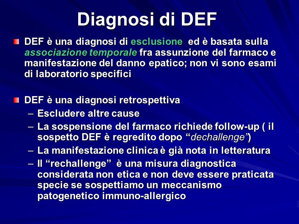 Diagnosi di DEF DEF è una diagnosi di esclusione ed è basata sulla associazione temporale fra assunzione del farmaco e manifestazione del danno epatic