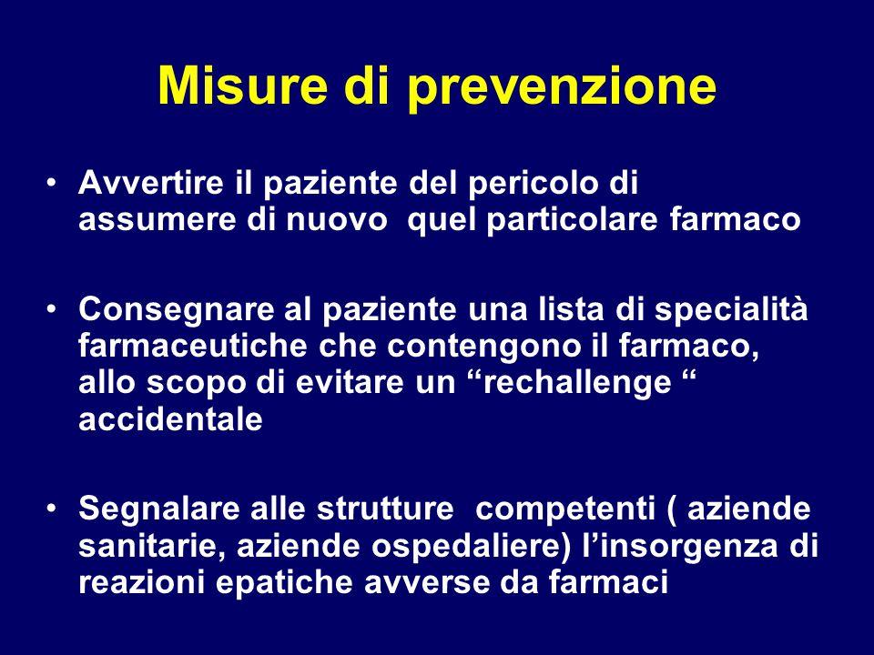 Misure di prevenzione Avvertire il paziente del pericolo di assumere di nuovo quel particolare farmaco Consegnare al paziente una lista di specialità
