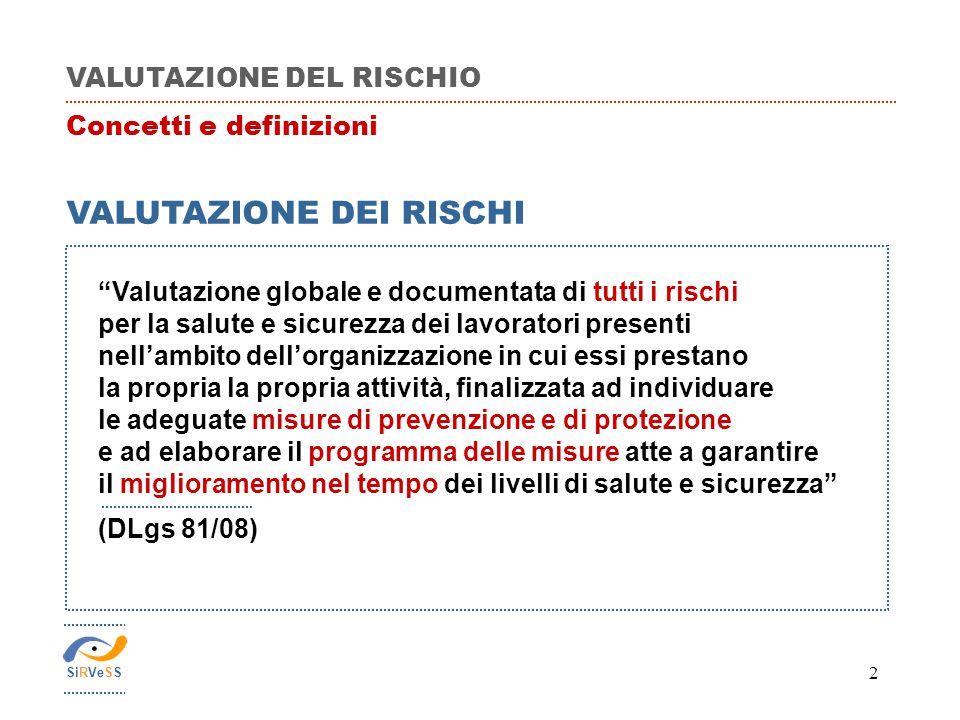 """2 VALUTAZIONE DEL RISCHIO Concetti e definizioni VALUTAZIONE DEI RISCHI """"Valutazione globale e documentata di tutti i rischi per la salute e sicurezza"""