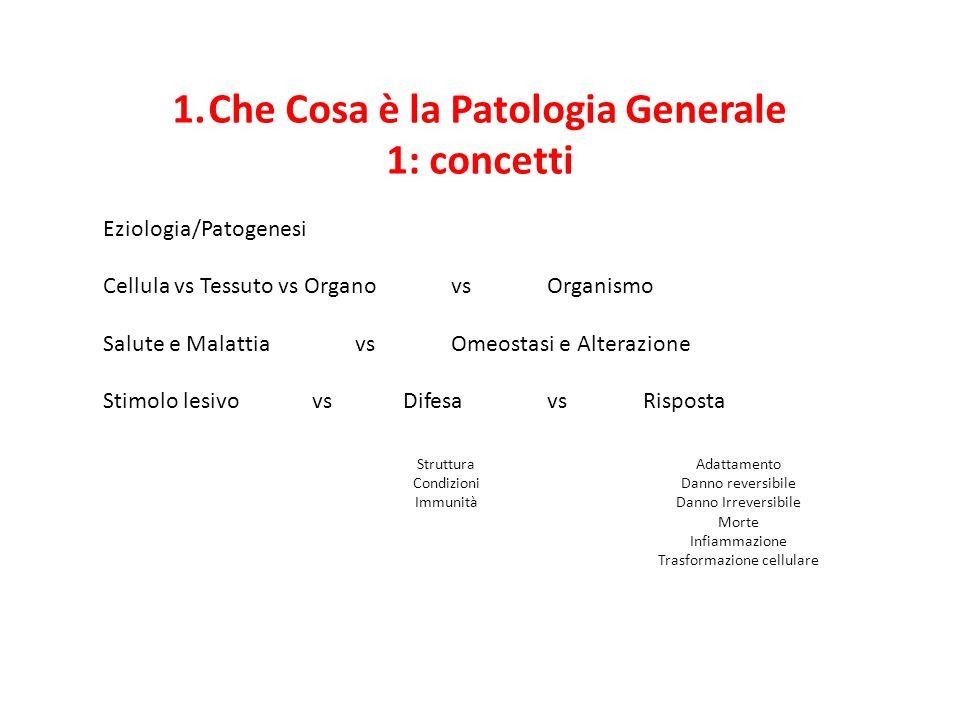 1.Che Cosa è la Patologia Generale 1: concetti Eziologia/Patogenesi Cellula vs Tessuto vs Organovs Organismo Salute e Malattiavs Omeostasi e Alterazio
