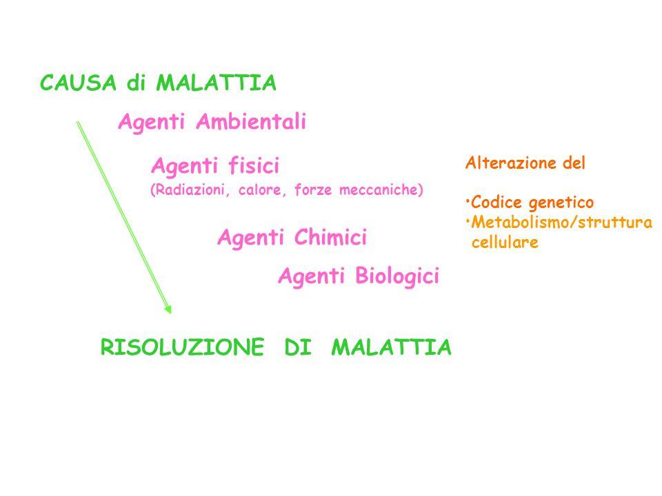 CAUSA di MALATTIA RISOLUZIONE DI MALATTIA Agenti fisici (Radiazioni, calore, forze meccaniche) Alterazione del Codice genetico Metabolismo/struttura c