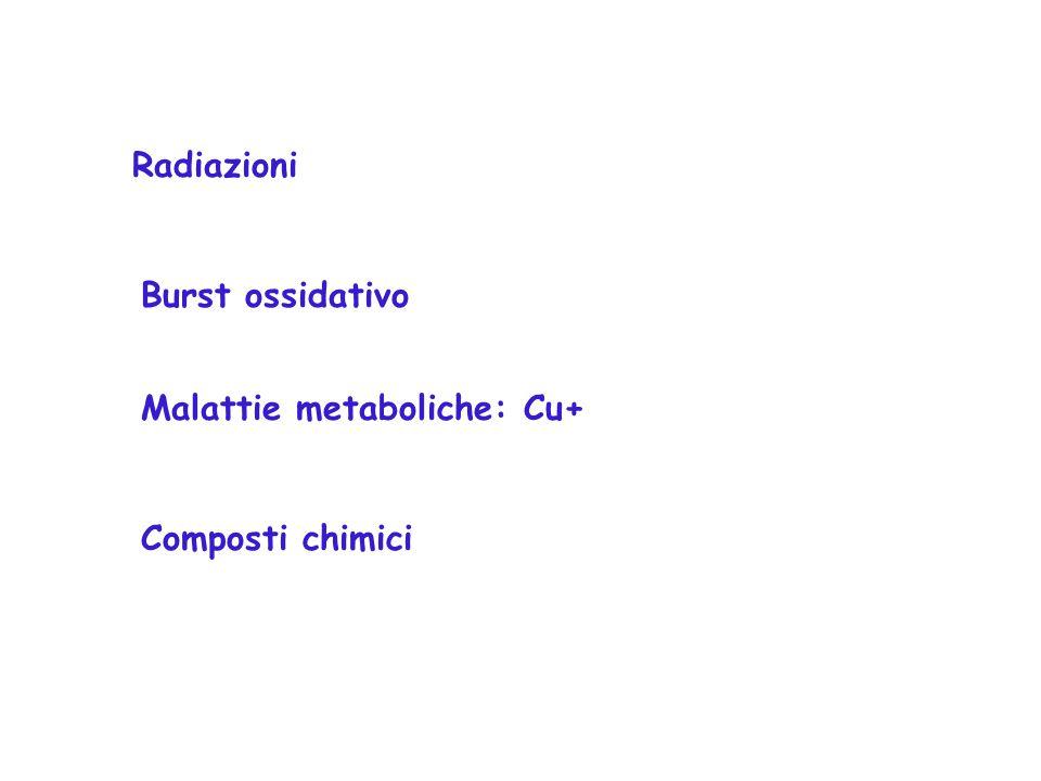 Radiazioni Burst ossidativo Composti chimici Malattie metaboliche: Cu+