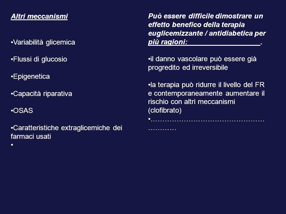 Altri meccanismi Variabilità glicemica Flussi di glucosio Epigenetica Capacità riparativa OSAS Caratteristiche extraglicemiche dei farmaci usati Può e