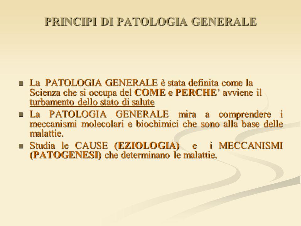PRINCIPI DI PATOLOGIA GENERALE La PATOLOGIA GENERALE è stata definita come la Scienza che si occupa del COME e PERCHE' avviene il turbamento dello sta