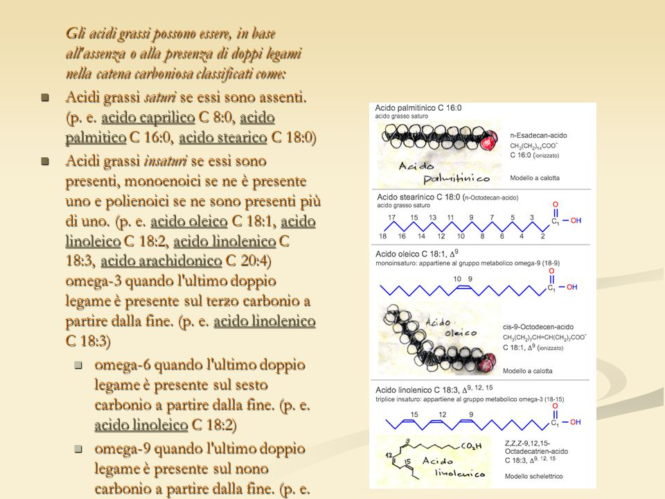 Gli acidi grassi possono essere, in base all'assenza o alla presenza di doppi legami nella catena carboniosa classificati come: Acidi grassi saturi se