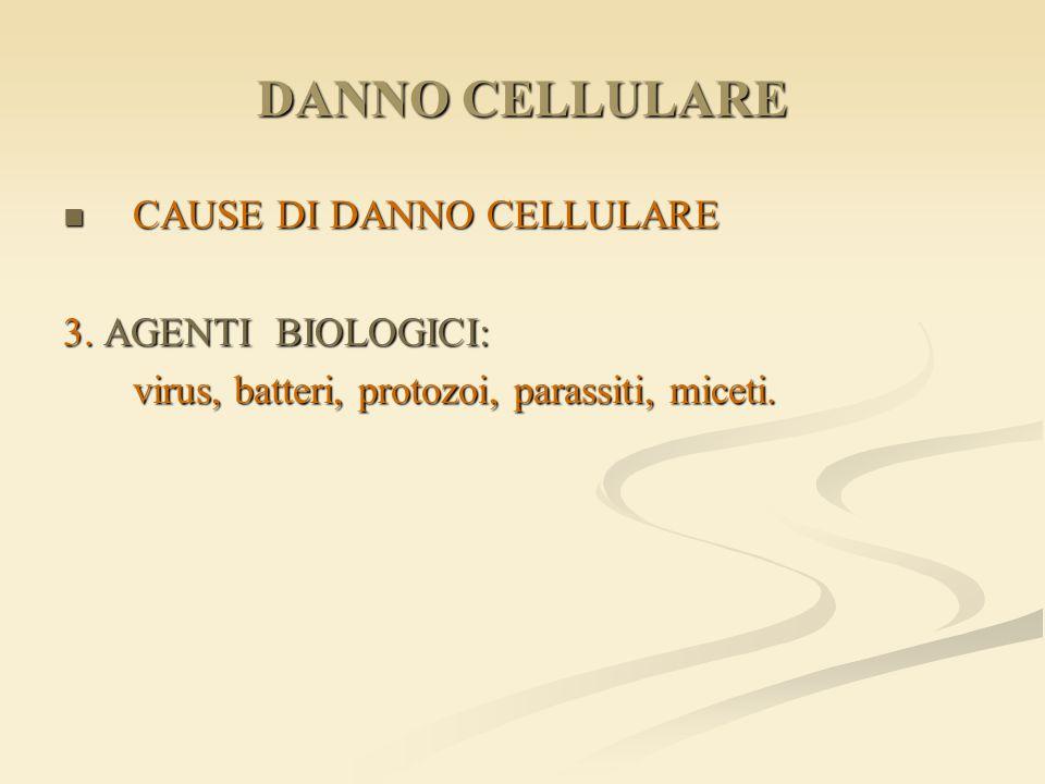 DANNO CELLULARE CAUSE DI DANNO CELLULARE CAUSE DI DANNO CELLULARE 3. AGENTI BIOLOGICI: virus, batteri, protozoi, parassiti, miceti.