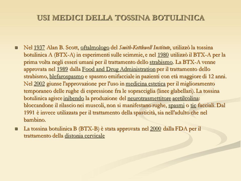 USI MEDICI DELLA TOSSINA BOTULINICA Nel 1937 Alan B. Scott, oftalmologo del Smith-Kettlewell Institute, utilizzò la tossina botulinica A (BTX-A) in es