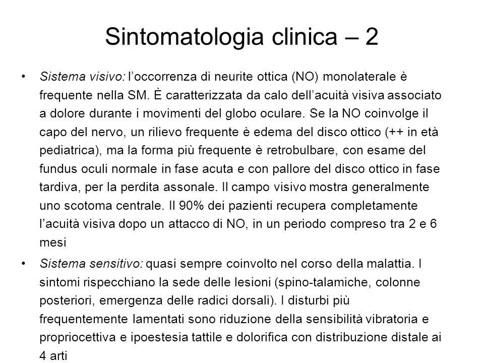 Sintomatologia clinica – 3 Sistema motorio: prevalentemente coinvolti gli arti inferiori con paraparesi/plegia e spasticità generalmente asimmetriche.