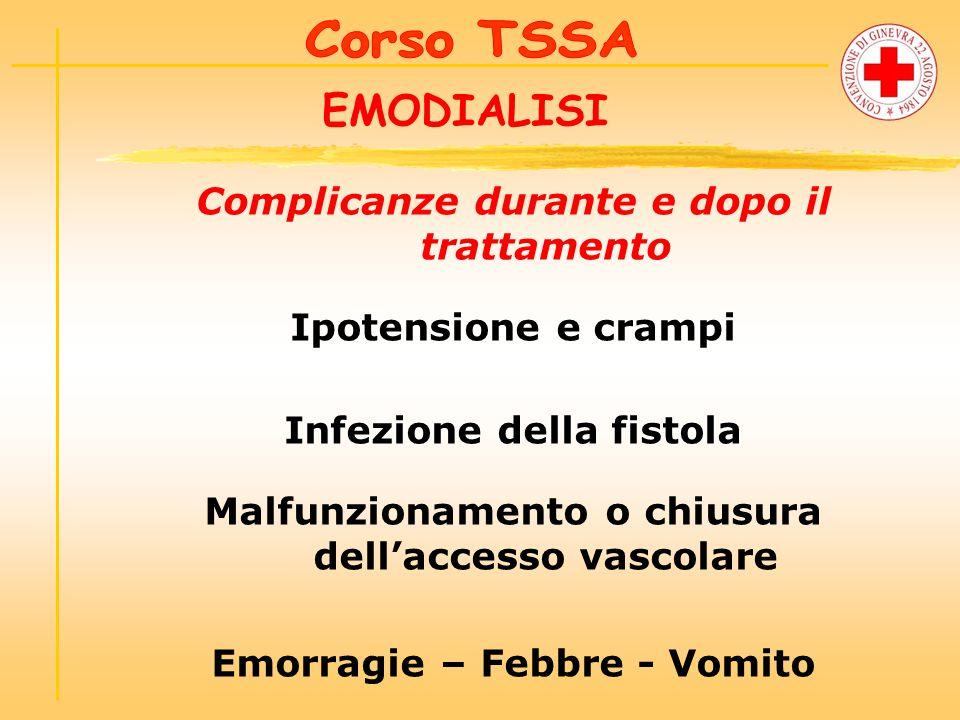 EMODIALISI Complicanze durante e dopo il trattamento Ipotensione e crampi Infezione della fistola Malfunzionamento o chiusura dell'accesso vascolare Emorragie – Febbre - Vomito