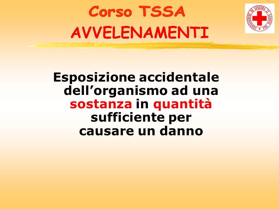 AVVELENAMENTI Esposizione accidentale dell'organismo ad una sostanza in quantità sufficiente per causare un danno