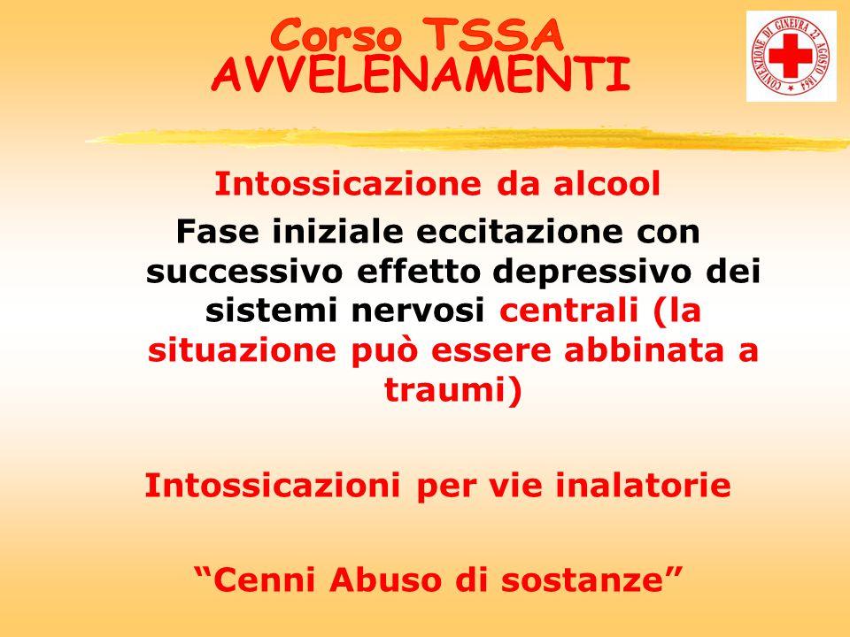 AVVELENAMENTI Intossicazione da alcool Fase iniziale eccitazione con successivo effetto depressivo dei sistemi nervosi centrali (la situazione può essere abbinata a traumi) Intossicazioni per vie inalatorie Cenni Abuso di sostanze