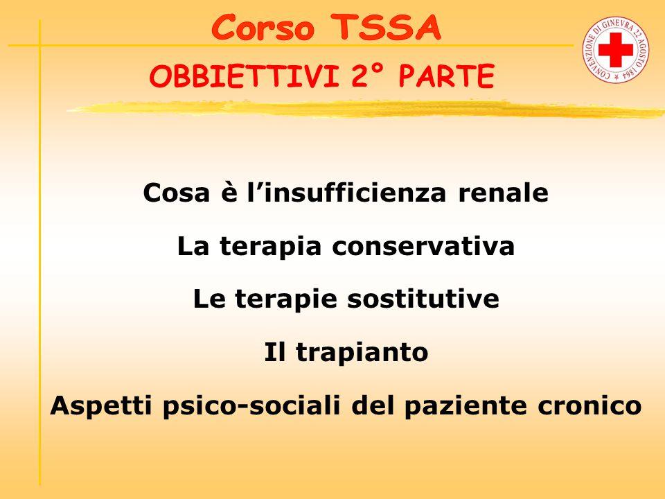 OBBIETTIVI 2° PARTE Cosa è l'insufficienza renale La terapia conservativa Le terapie sostitutive Il trapianto Aspetti psico-sociali del paziente cronico