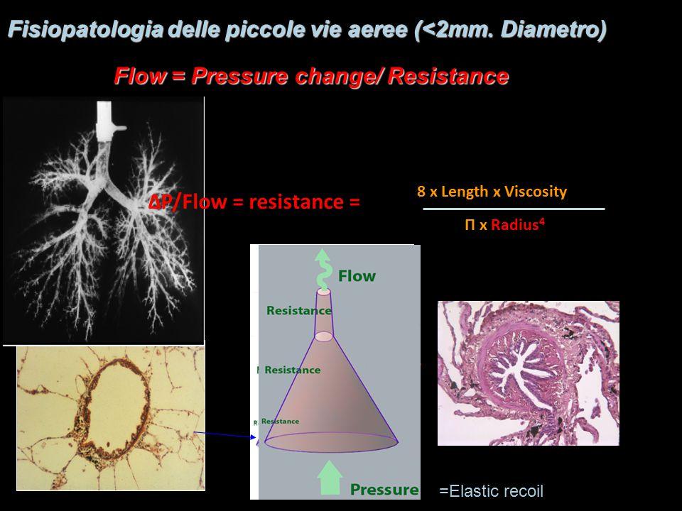 Π x Radius 4 8 x Length x Viscosity Fisiopatologia delle piccole vie aeree (<2mm.