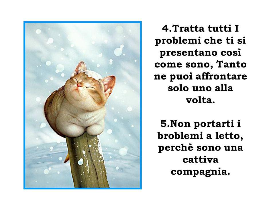 4.Tratta tutti I problemi che ti si presentano così come sono, Tanto ne puoi affrontare solo uno alla volta.