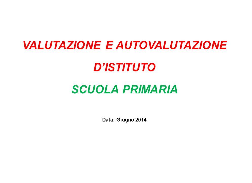 VALUTAZIONE E AUTOVALUTAZIONE D'ISTITUTO SCUOLA PRIMARIA Data: Giugno 2014