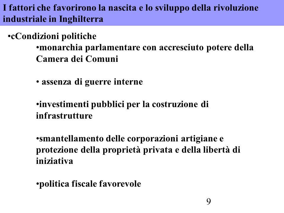 9 cCondizioni politiche monarchia parlamentare con accresciuto potere della Camera dei Comuni assenza di guerre interne investimenti pubblici per la c