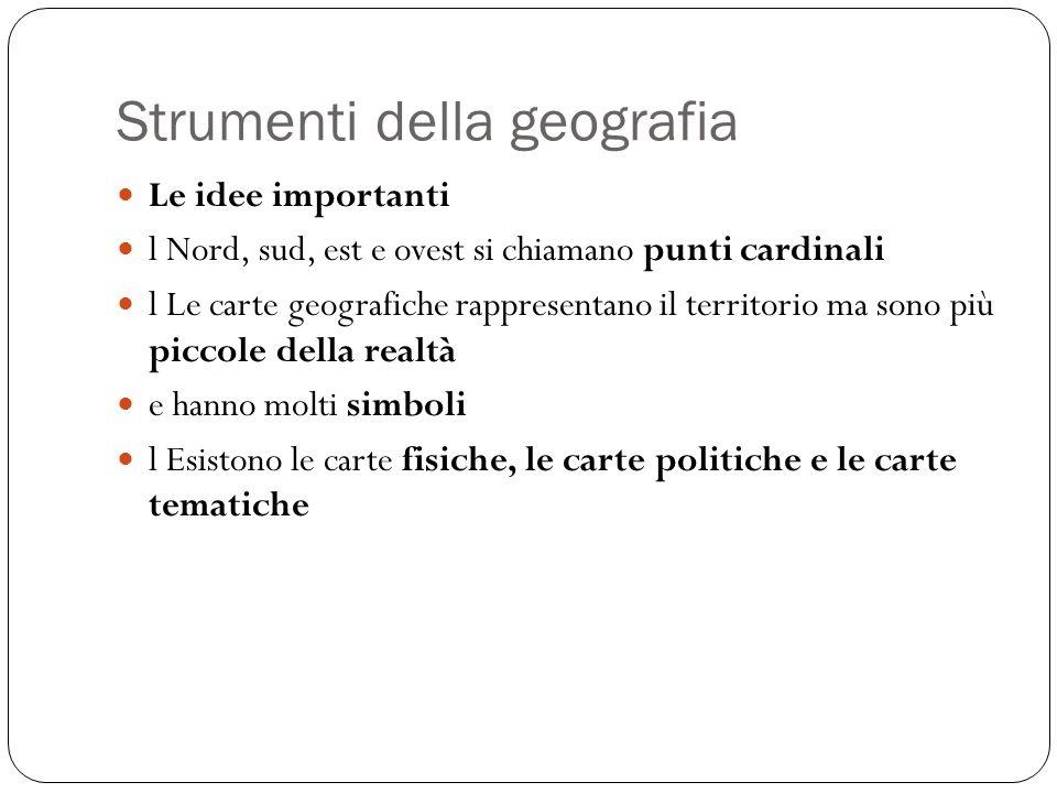 Strumenti della geografia Le idee importanti l Nord, sud, est e ovest si chiamano punti cardinali l Le carte geografiche rappresentano il territorio m