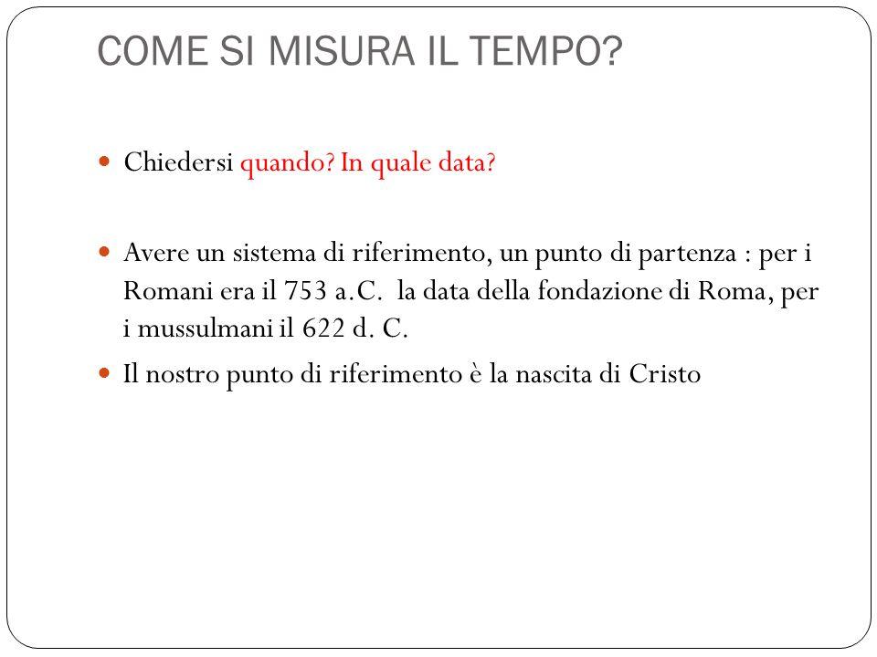 COME SI MISURA IL TEMPO? Chiedersi quando? In quale data? Avere un sistema di riferimento, un punto di partenza : per i Romani era il 753 a.C. la data
