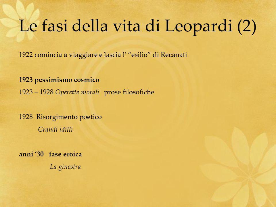 """Le fasi della vita di Leopardi (2) 1922 comincia a viaggiare e lascia l' """"esilio"""" di Recanati 1923 pessimismo cosmico 1923 – 1928 Operette morali pros"""
