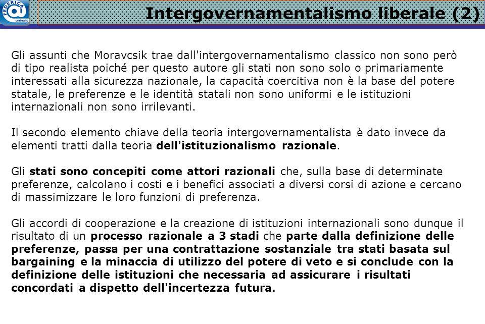 Intergovernamentalismo liberale (2) Gli assunti che Moravcsik trae dall'intergovernamentalismo classico non sono però di tipo realista poiché per ques