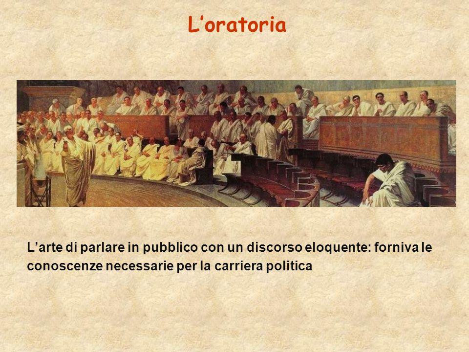 L'oratoria L'arte di parlare in pubblico con un discorso eloquente: forniva le conoscenze necessarie per la carriera politica