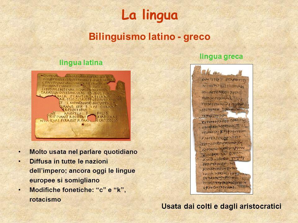 La lingua lingua latina Molto usata nel parlare quotidiano Diffusa in tutte le nazioni dell'impero; ancora oggi le lingue europee si somigliano Modifi