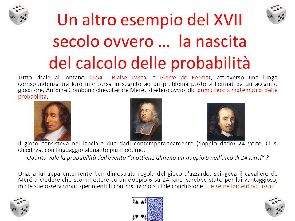 Un altro esempio del XVII secolo ovvero … la nascita del calcolo delle probabilità Tutto risale al lontano 1654… Blaise Pascal e Pierre de Fermat, attraverso una lunga corrispondenza tra loro intercorsa in seguito ad un problema posto a Fermat da un accanito giocatore, Antoine Gombaud chevalier de Méré, diedero avvio alla prima teoria matematica delle probabilità.
