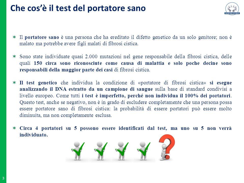 3 Che cos'è il test del portatore sano  Il portatore sano è una persona che ha ereditato il difetto genetico da un solo genitore; non è malato ma pot