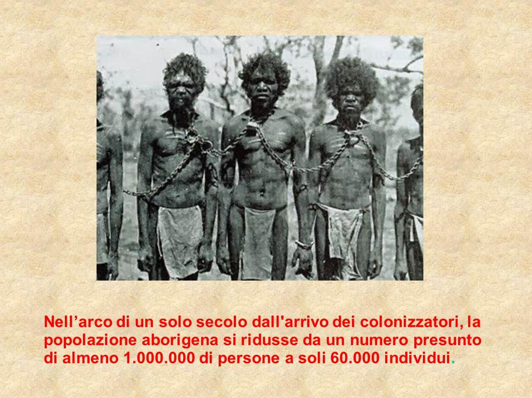 Nell'arco di un solo secolo dall'arrivo dei colonizzatori, la popolazione aborigena si ridusse da un numero presunto di almeno 1.000.000 di persone a