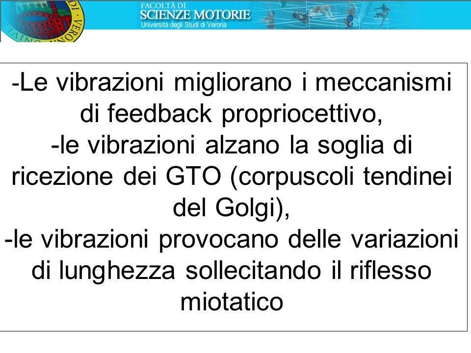 - Le vibrazioni migliorano i meccanismi di feedback propriocettivo, -le vibrazioni alzano la soglia di ricezione dei GTO (corpuscoli tendinei del Golg