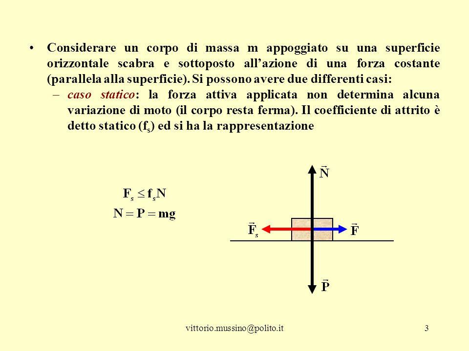 vittorio.mussino@polito.it4 –Caso dinamico: la forza attiva applicata ha modulo maggiore di quello della forza di attrito (il corpo subisce una variazione di moto) ed il coefficiente di attrito è detto dinamico (f d ) e si ha la rappresentazione Attenzione: il coefficiente di attrito è un numero compreso fra zero ed uno, quindi il modulo della forza di attrito e sempre minore di quello della reazione normale della superficie sul corpo.