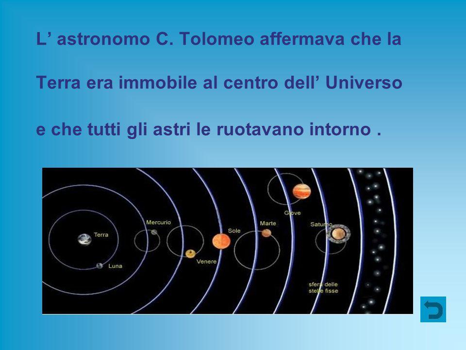 L' astronomo C. Tolomeo affermava che la Terra era immobile al centro dell' Universo e che tutti gli astri le ruotavano intorno.
