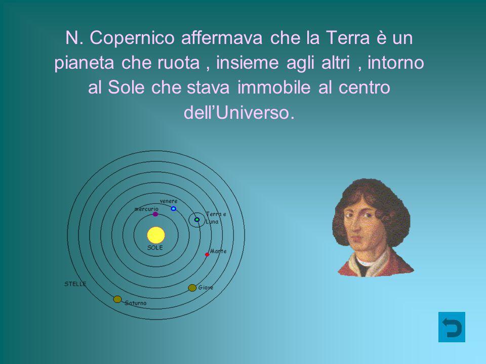 N. Copernico affermava che la Terra è un pianeta che ruota, insieme agli altri, intorno al Sole che stava immobile al centro dell'Universo.
