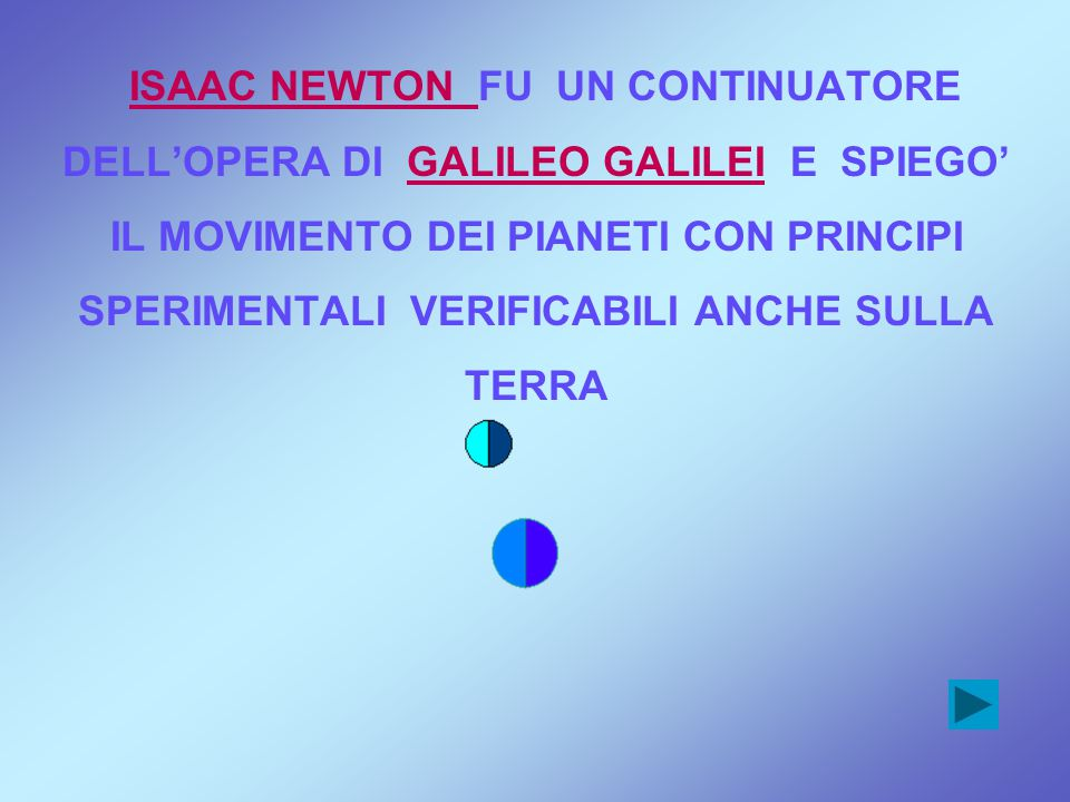 ISAAC NEWTON FU UN CONTINUATORE DELL'OPERA DI GALILEO GALILEI E SPIEGO' IL MOVIMENTO DEI PIANETI CON PRINCIPI SPERIMENTALI VERIFICABILI ANCHE SULLA TE