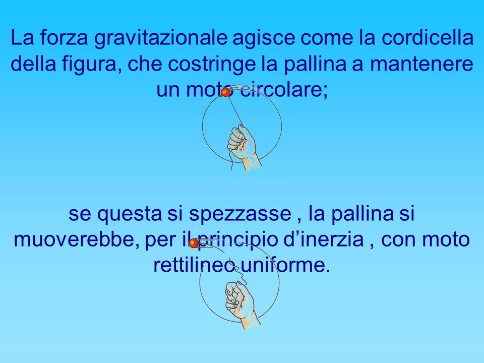 La forza gravitazionale agisce come la cordicella della figura, che costringe la pallina a mantenere un moto circolare; se questa si spezzasse, la pallina si muoverebbe, per il principio d'inerzia, con moto rettilineo uniforme.