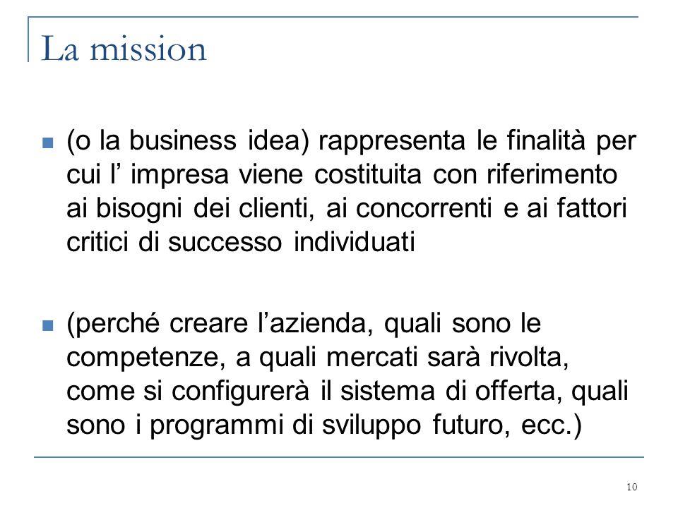La mission (o la business idea) rappresenta le finalità per cui l' impresa viene costituita con riferimento ai bisogni dei clienti, ai concorrenti e a