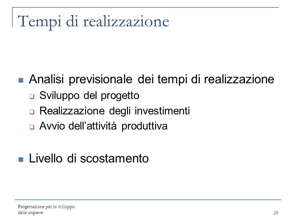 Tempi di realizzazione Analisi previsionale dei tempi di realizzazione  Sviluppo del progetto  Realizzazione degli investimenti  Avvio dell'attivit
