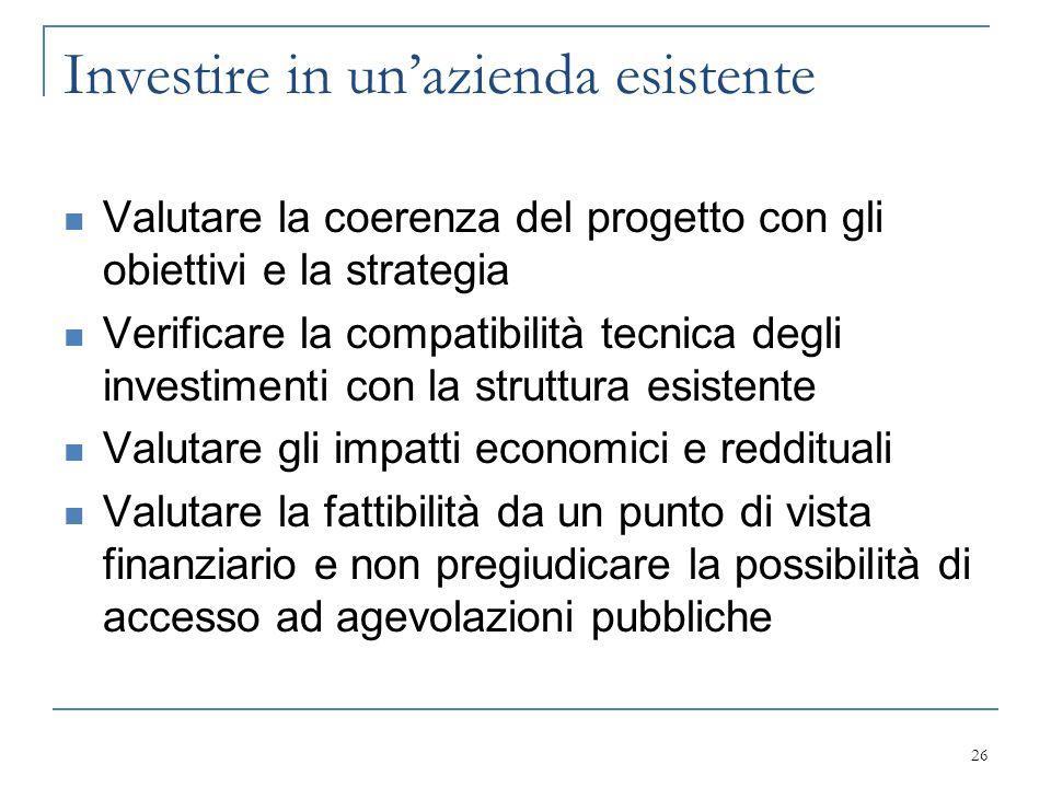 Investire in un'azienda esistente Valutare la coerenza del progetto con gli obiettivi e la strategia Verificare la compatibilità tecnica degli investi