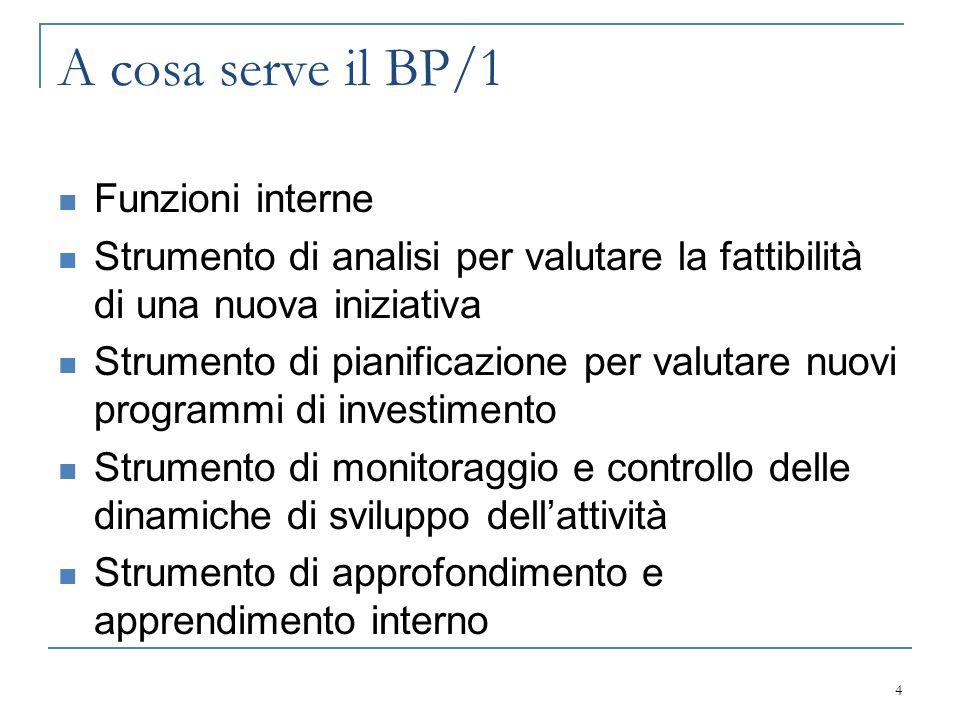 A cosa serve il BP/1 Funzioni interne Strumento di analisi per valutare la fattibilità di una nuova iniziativa Strumento di pianificazione per valutar