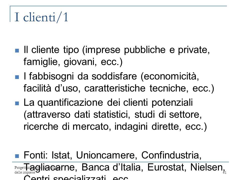 I clienti/1 Il cliente tipo (imprese pubbliche e private, famiglie, giovani, ecc.) I fabbisogni da soddisfare (economicità, facilità d'uso, caratteris