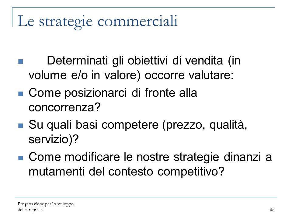 Le strategie commerciali Determinati gli obiettivi di vendita (in volume e/o in valore) occorre valutare: Come posizionarci di fronte alla concorrenza