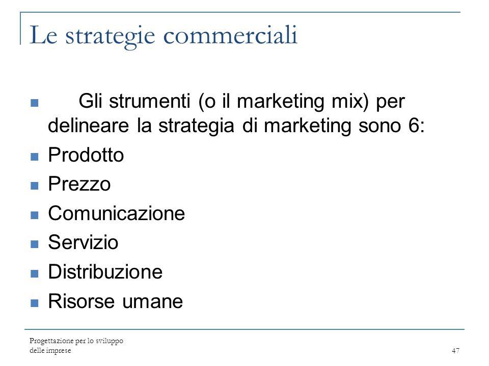 Le strategie commerciali Gli strumenti (o il marketing mix) per delineare la strategia di marketing sono 6: Prodotto Prezzo Comunicazione Servizio Dis