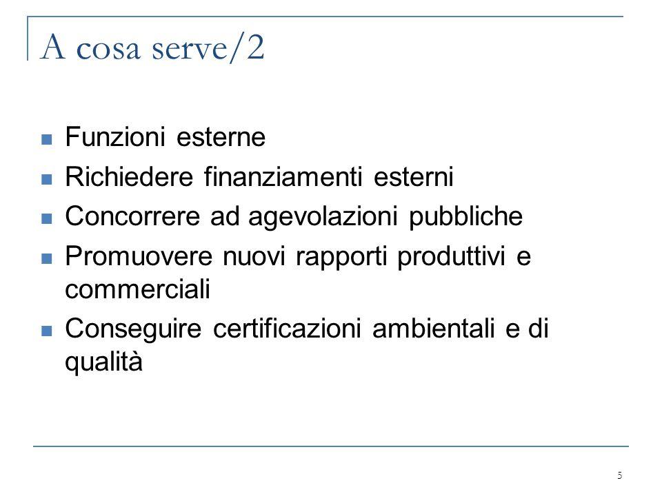 A cosa serve/2 Funzioni esterne Richiedere finanziamenti esterni Concorrere ad agevolazioni pubbliche Promuovere nuovi rapporti produttivi e commercia